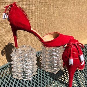 Red shade heels